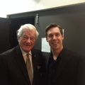 Backstage with Senator Tommy Banks after a show with the Winnipeg Jazz Orchestra
